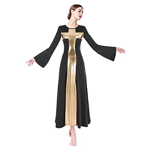 IMEKIS Praise Lyrical Dance Dress, Prom Ballroom Dance Dresses Dancing Modern Smooth Waltz Tango Party Latin Swing Competition Dancewear Skirt Dress Costumes Black + Gold XX-Large
