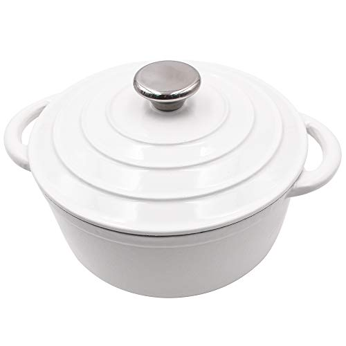 Enameled Cast Iron Dutch Oven - 3-Quart White Round Ceramic Coated Cookware French Oven with Self Basting Lid by ()