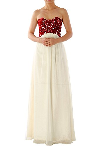 MACloth Women Strapless Long Chiffon Lace Prom Party Dress Evening Formal Gown Rojo