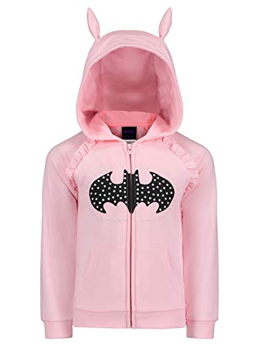 ) Girls Batgirl Fleece Hoodie with 3D Accents in Pink, 4 ()