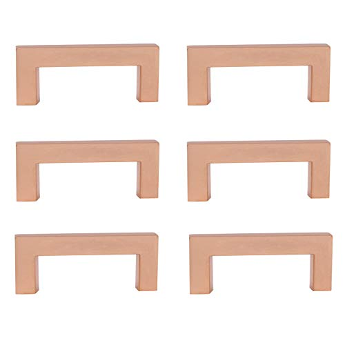 Rose Gold Cabinet Hardware 6PACK Modern Square Bar Drawer Pulls 3 inch 76mm Hole to Hole Kitchen Handles Drawer Knobs