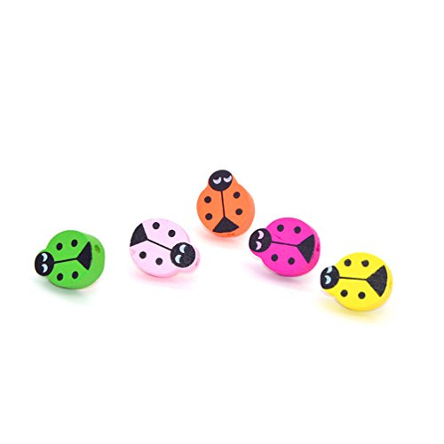 10 Pcs Creative Office Decorative Thumbtacks Colorful Floret Pushpins for Home Office Cork Board Photo Wall, Assorted Color (Ladybug) (Lady Push Bug Pins)