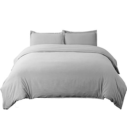 Bedsure Duvet Cover Set with Zipper Closure Solid Grey King Size(104