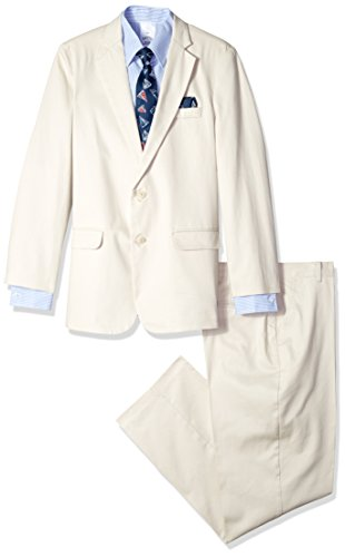 Nautica Boys' 4-Piece Suit Set with Dress Shirt, Tie, Jacket, and Pants, Twill Cement, 10