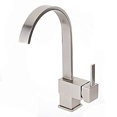 Copper Modern 12.6 Inches Kitchen Bar Sink Faucet Square Flat Spout Faucet Brushed Nickel FH-4IN3-10R6
