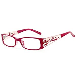 "Aloha Eyewear Women's ""Tiffany's Garden"" Rectangular Floral Reading Glasses (Deep Pink +2.75)"