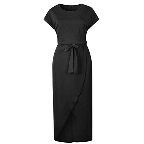 (Split Asymmetrical Dress Plus Size Long Women's Dresses Robe Femme Black XXL)