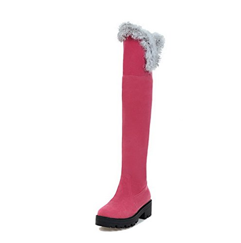 AllhqFashion Womens Pull-on Low-Heels Imitated Suede Solid High-top Boots Pink Ru5GljZT8X