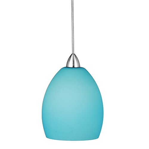 WAC Lighting MP-LED524-LB/CH Sarah 5W 12V 3500K LED MonoPoint Pendant with Light Blue Art Glass Shade, Chrome Finish - Energy Star Island Pendant