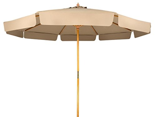Office Patio Umbrella - 9' Wood Frame Patio Umbrella with Scalloped Edge by Trademark Innovations (Tan)