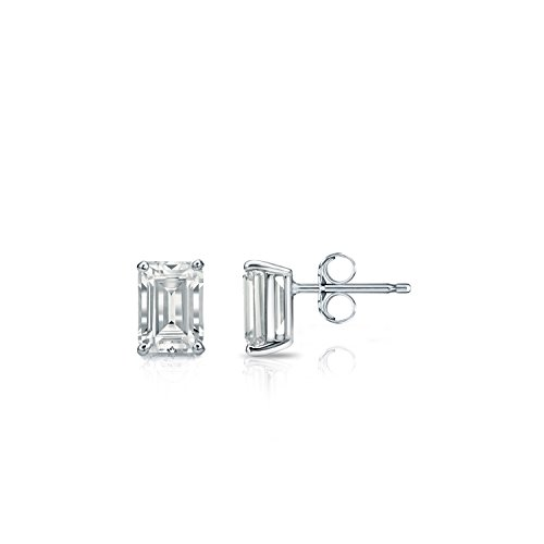 (Diamond Wish 14k White Gold Emerald-Cut Diamond Stud Earrings (1/2 carat TW, O.White, SI1-SI2) 4-Prong Basket, Push-Back)