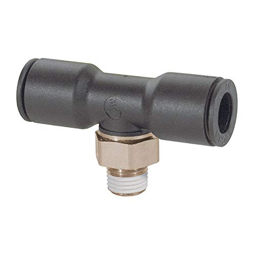 """Legris 3108 56 14 Nylon & Nickel-Plated Brass Push-to-Connect Fitting, Branch Tee, 1/4"""" Tube OD x 1/4"""" NPT Male"""