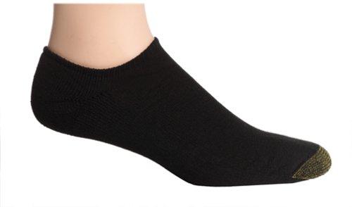 Gold Toe Men's 6-Pack Cotton Cushion No Show Liner Socks, Black, 10-13 (Shoe: -