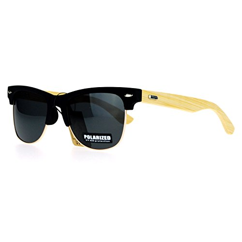 SA106 Polarized Wood Bamboo Arm Hipster Half Rim Clubmaster Sunglasses All - Sunglasses Organic