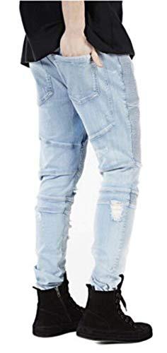 Jogging Da Pantaloni Giovane Trapuntati Strappati Saoye Jeans Casual Biker Fashion Denim Blau Uomo I8UEwy5Bxq