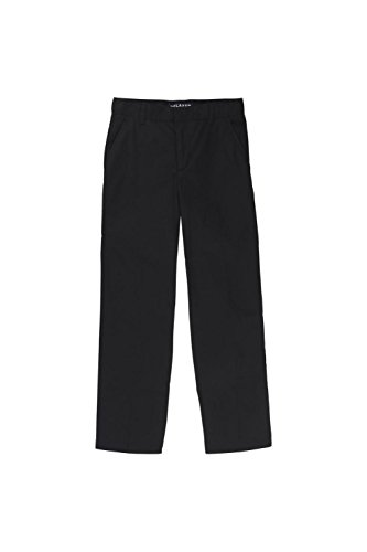 French Toast Big Boys' Flat Front Double Knee Pant with Adjacent Waist and Hem, Black, 8 ()