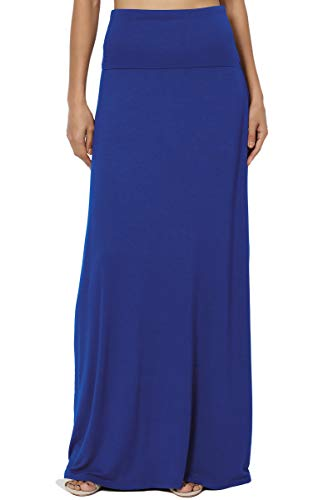 TheMogan Women's Casual Solid Draped Jersey Relaxed Long Maxi Skirt Denim Blue M