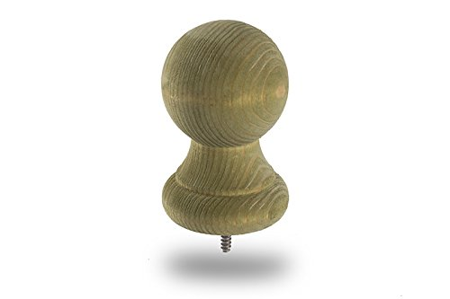 Woodway 3 Inch Ball Finial Post Cap – Treated Wood Fence Cap for Deck and Patio, 4 X 4, 1 - Cap Post Finial