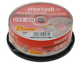 Maxell DVD-RW 4.7Gb 2x Spindle 25 rewritable dvd 25 pack dvd