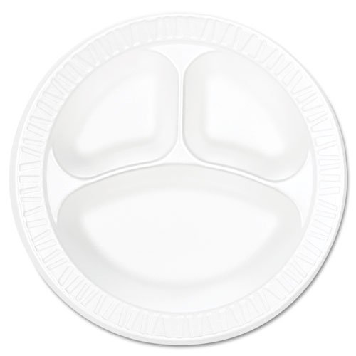 Dart 10CPWCR 10.25 in White Unlaminated Foam 3 Comp Plate (Case of 500)