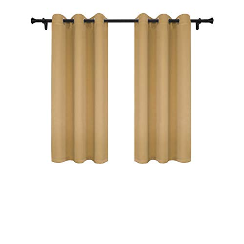 - SUO AI TEXTILE Thermal Insulated Curtains Grommet Top Blackout Curtsin Window Drapes for Living Room Width 37 Inch Length 63 Inch Gold 2 Panels