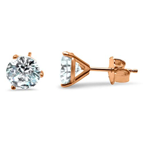 14k Rose Gold Martini 3 prong post earrings Forever ONE Moissanite solitaire