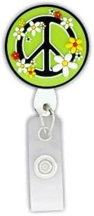 Peace Sign 3D Rubber Retractable Badge Holder