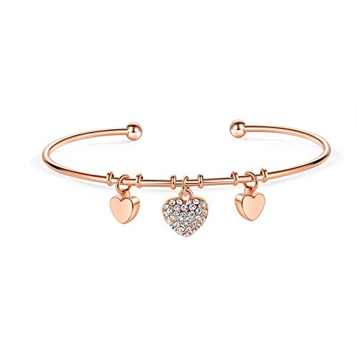 MILATU Heart Bracelet 3A Cubic Zirconia Charm,Rose Gold-Plated Cuff Bangle Bracelet Jewelry Gifts for Women Girls