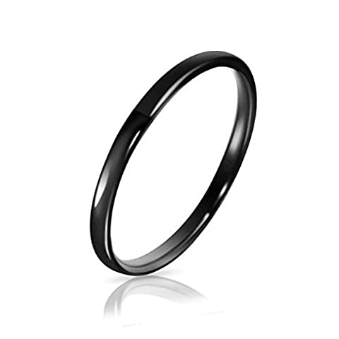 Three Keys Jewelry 2mm Tungsten Carbide Wedding Ring Black Women's Wedding Band Engagement Band Comfort Fit High Polished Classy Domed Size (Tungsten White Gold Ring)