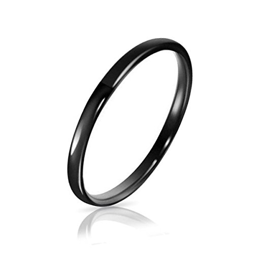 Three Keys Jewelry 2mm Tungsten Carbide Ring Wedding Engagement Band Comfort Fit Black High Polished Classy Domed Size 8.5
