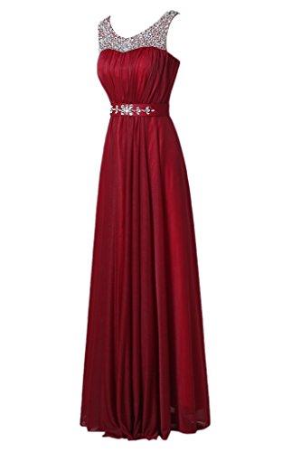 Royaldress Weinrot Silber Pailletten Perlen Aermellos Abendkleider Promkleider Abiballkleider Lang A-linie
