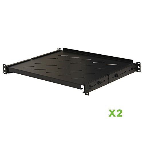 NavePoint Fixed Rack Vented Server Shelf 1U 19'' 4 post Rack Mount Adjustable from 14-23 Set of 2 Black by NavePoint