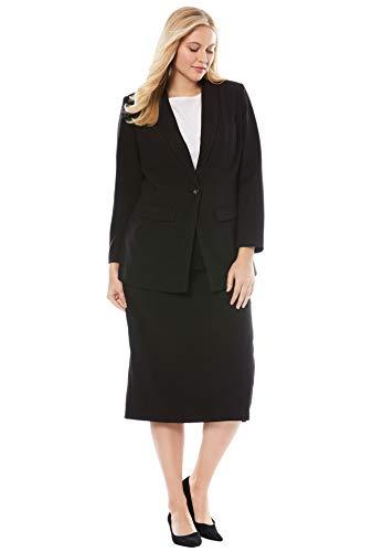 Jessica London Women's Plus Size Tall Single-Breasted Skirt Suit - Black, 20 W (Skirt London Black)