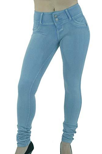 Vosujotis La Mujer Denim Jeans Alto Wasit Skinny Slim Bolsillo Pantalones Largos Azul