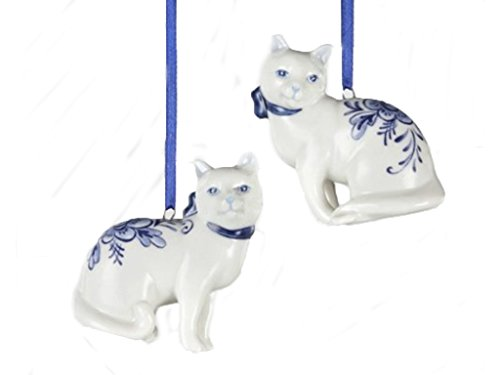Porcelain Delft Blue Cat Ornament Set Of 2