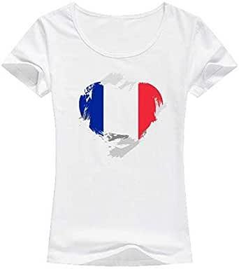 تيشيرت فرنسا أبيض - للنساء