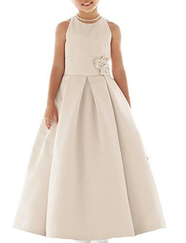 Slenyubridal Girl's 2018 New Junior Bridesmaid Dress First Communion Wedding Flower Girl Dresses (10, Champagne)