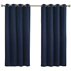Moonen 99% Blackout Curtain for Bedroom Thermal Insulated Noise Proof Microfiber Heavy Silky Textured Darkening Grommet Top Drapes (2 Panels Set, Black, 52x84 Inches)