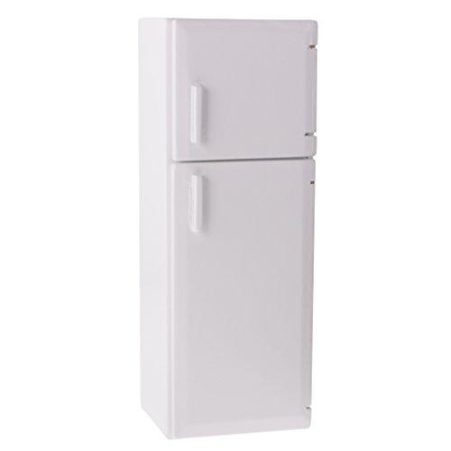 Dovewill Dolls House 1:12 Scale White Wooden Refrigerator Freezer Kitchen Accessory