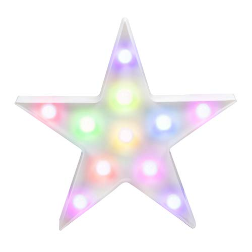 WHATOOK 3D Colorful Star LED Lamp Decorative Marquee Signs Letter Star Night Light Wall Decoration for Living Room,Bedroom,Home, Christmas (Battery Operated) (Colorful (Christmas Lights Letter)