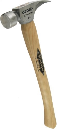 Stiletto Ti12SC-16 Ti 12-Ounce Smooth Face Hammer with a Curved 16-Inch Hickory - Stiletto Brand