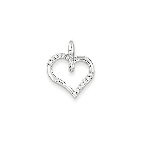 Roy Rose Jewelry 14K White Gold 0.08-Carat tw Diamond Heart Pendant