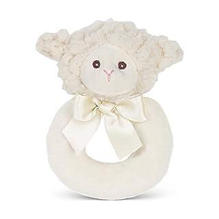 """Bearington Baby Lamby Plush Stuffed Animal Cream Lamb Soft Ring Rattle, 5.5"""""""