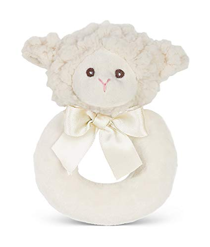 Bearington Baby Lamby Plush Stuffed Animal Cream Lamb Soft Ring Rattle, -