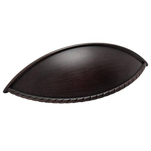 Cosmas 9237ORB Oil Rubbed Bronze Cabinet Hardware Rope Edge Bin Cup Drawer Handle Pull - 3-3/4
