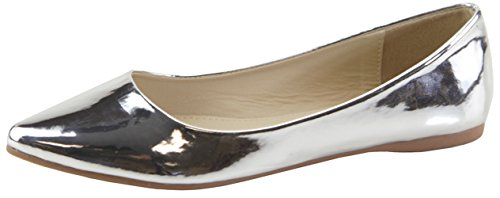 Cambridge Select Womens Classique Fermé Orteil Pointu Slip-on Ballet Plat Argent Brevet