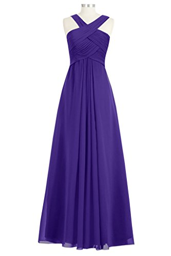 Tivansi Women's Long Chiffon Bridesmaid Dresses purple Size 22