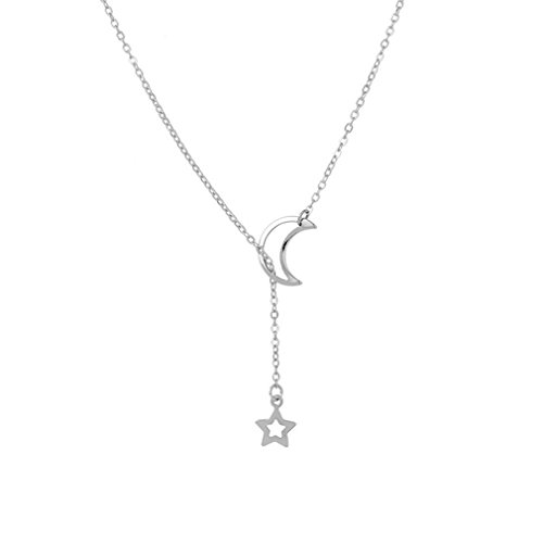 Yesido. Sweet Moon Stars Pendant Choker Necklace for Women Girls (Fan Pendant Necklace)
