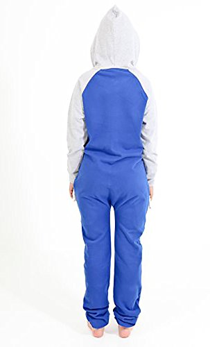 Juicy Trendz Diseñador Señoras Mujeres Uno Cremall Onesie Capucha Chandal Blue-Grey