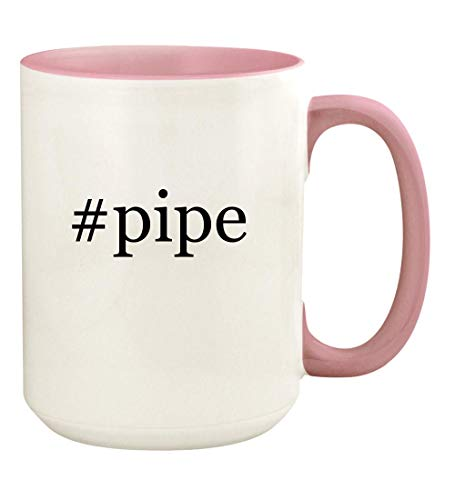 #pipe - 15oz Hashtag Ceramic Colored Handle and Inside Coffee Mug Cup, Pink